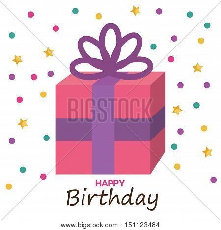 happy birthday gift box vector illustration design