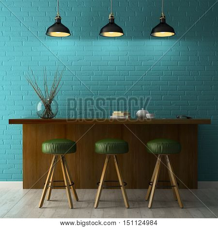 Interior with chalkboard mockup 3D rendering