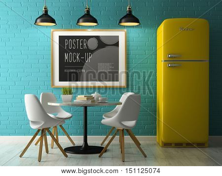 Interior with poster mock up 3D rendering
