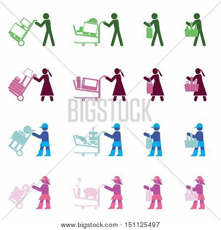 man, woman, boy and girl with various shopping actions by the simple vector format