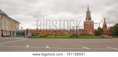 Moscow Russia -September 09 2016: Kremlin.The area on the site of the 14th Corps of the Kremlin Presidential Palace