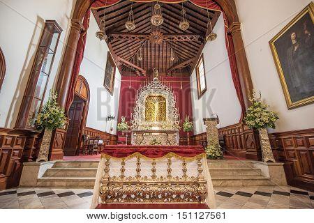 LA LAGUNA SPAIN - SEPTEMBER 4: Interior of San Cristobal sanctuary on September 4 2016 in San Cristobal de la Laguna Tenerife Spain.