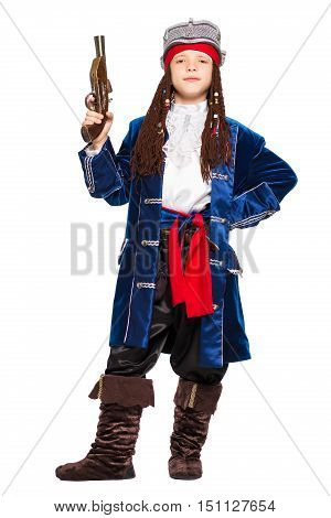 Young boy posing in a suit of pirate. Isolated on white