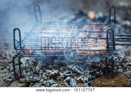 Minced Meat Rolls On Grills