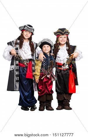 Three Boys Dressed As Pirates