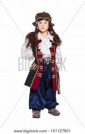 A Boy Dressed As Pirate
