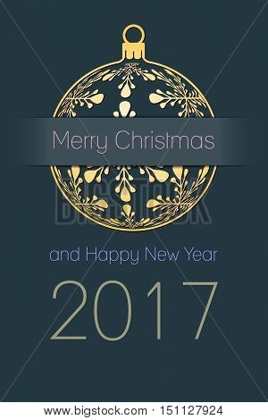 Merry Christmas and Happy New Year 2017 greeting card gold silhouette of christmas ball with text on dark desaturated blue background holiday vector illustration