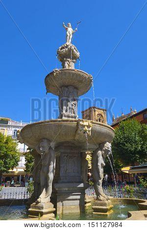 Poseidon fountain in Granada town center (Spain Andalusia).