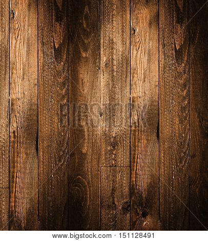 Natural Dark Wooden background. Old dirty wood tables or parquet with knots and holes and aged partculars.