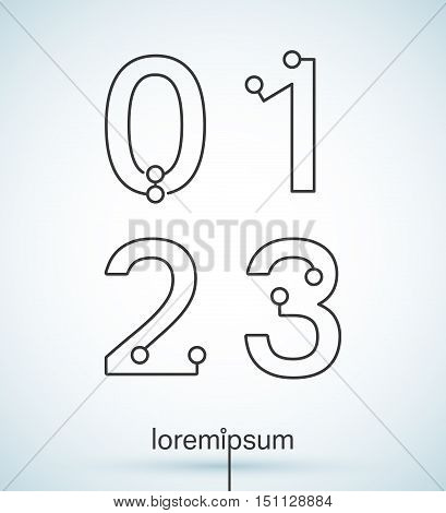 Connection dots font. Set of numbers 0, 1, 2, 3 logo or icon vector design