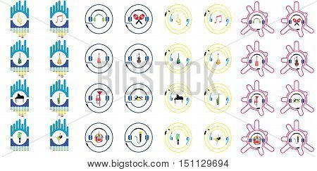 music instruments vector include guitar, cello, piano, drums with earphones and equalizer concept