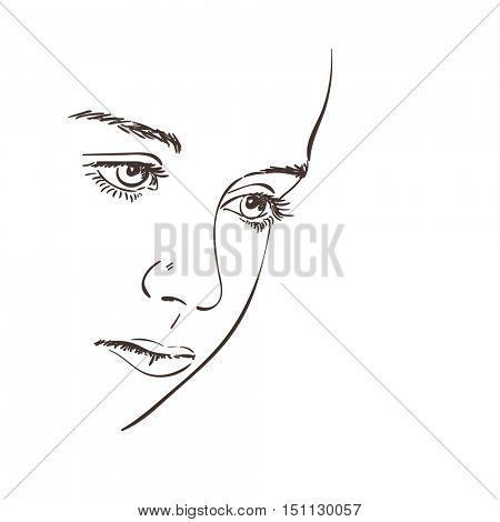 Thoughtful beautiful face of young girl, Vector sketch, Hand drawn illustration
