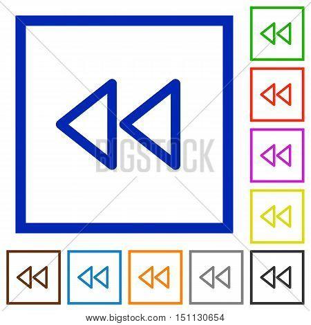 Set of color square framed media fast backward flat icons