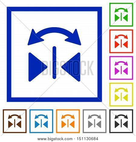 Set of color square framed horizontal flip flat icons