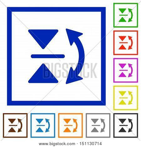 Set of color square framed vertical flip flat icons