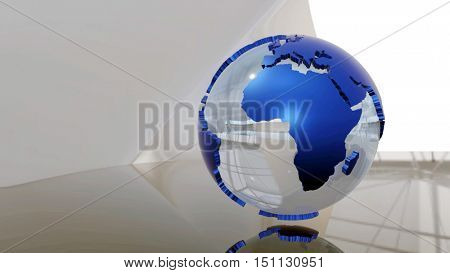Advanced futuristic scene of a 3d glass Earth globe with blue extruded continents. 3D rendering.