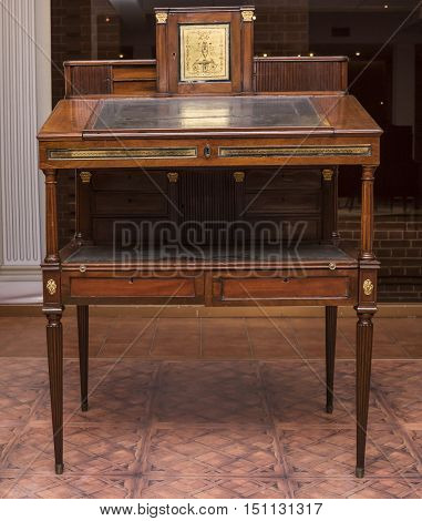 Moscow Russia -September 092016: Writing desk- bureau- workshop G. Gambs. Early 19th century. Historical Museum