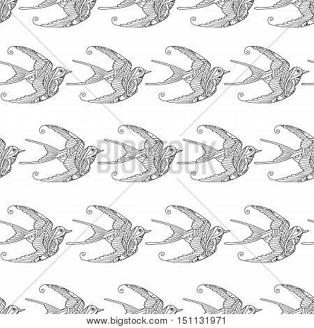 Seamless pattern with ornamental swallow birds hand drawn isolated on white background. Can be used for coloring book for adult and older children. Vector illustration.