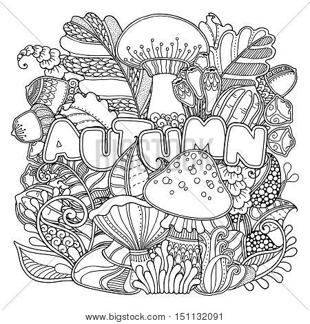 Magic autumn composition in doodle style. Floral, ornate, decorative, nature design elements. Black and white background. Mushrooms, grass, acorns, oak leaves. Zentangle coloring book page