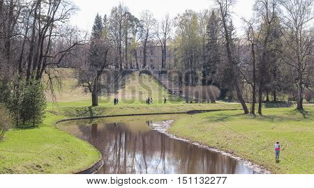 St. Petersburg, Russia - 3 May, People in the park, 3 May, 2016. People and spring landscape in Pavlovsk park.