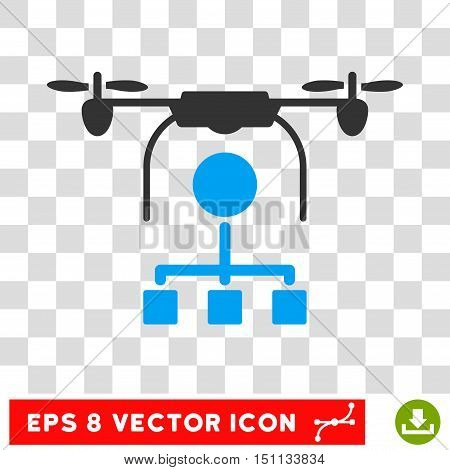 Vector Drone Distribution EPS vector icon. Illustration style is flat iconic bicolor blue and gray symbol on a transparent background.