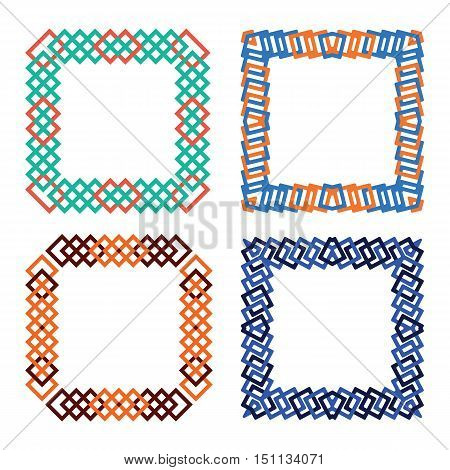 abtract colored squares frame set vector illustration