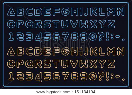 neon glow alphabet, futuristic font, space font