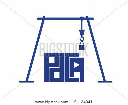 abstract crane build pdca letters as proper business process building vector design