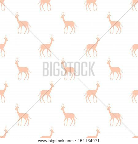 Antelope silhouette on white backgrounds seamless vector pattern background illustration. Texture with colorful Antelope. Can be used for textile website background book cover packaging.