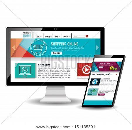 model website at device electronic vector illustration design