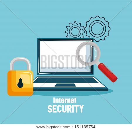 internet security concept flat icons vector illustration design