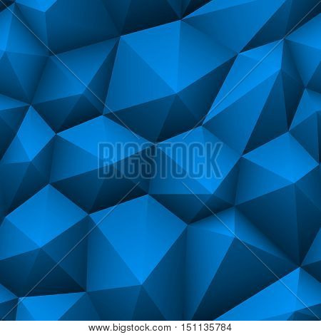 Blue triangle seamless low-poly background. Abstract triangle blue texture. Low poly blue pattern vector illustration.