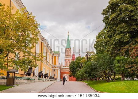 MOSCOW RUSSIA - AUGUST 30 2015: View of the Spasskaya tower and Kremlin Arsenal within the grounds of the Moscow Kremlin in Russia.