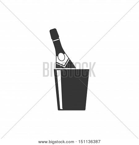 Champagne bottle in a bucket with ice icon vector isolated on white background. Alcohol celebration wine champagne bottle. Holiday gold glass new year party beverage champagne romantic drink bottle.