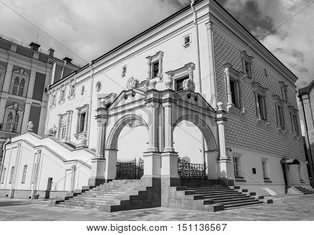 The Palace of the Facets is a building in the Moscow Kremlin Russia which contains what used to be the main banquet reception hall of the Muscovite Tsars. Black and white photo.