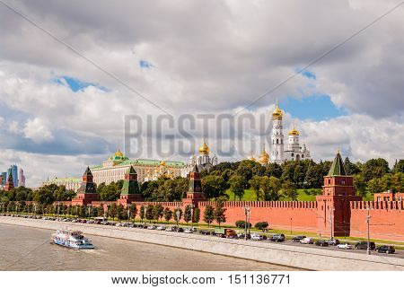MOSCOW RUSSIA - AUGUST 30 2015: View of the Moscow river and Moscow Kremlin. Popular tourist view of the main attraction of Moscow. Russia
