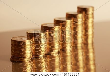 Group of coins business money in columns