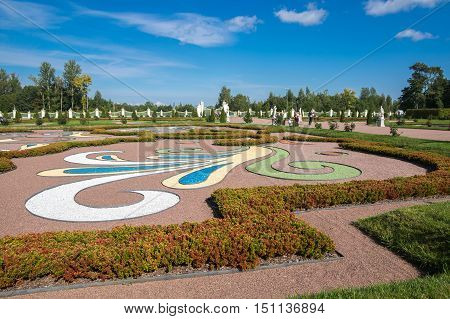 SAINT- PETERSBURG, RUSSIA - September 06, 2015: Oranienbaum is a Russian royal residence located on the Gulf of Finland west of Saint Petersburg Russia. The Palace ensemble are UNESCO World Heritage Sites