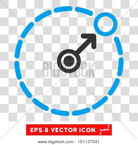 Vector Round Area Border EPS vector pictogram. Illustration style is flat iconic bicolor blue and gray symbol on a transparent background.