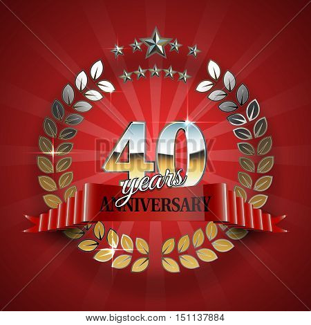 40th anniversary frame in the golden form of laurel branches. Frame for 40th anniversary. Anniversary ring with red ribbon. Anniversary festive celebration emblem. Vector illustration