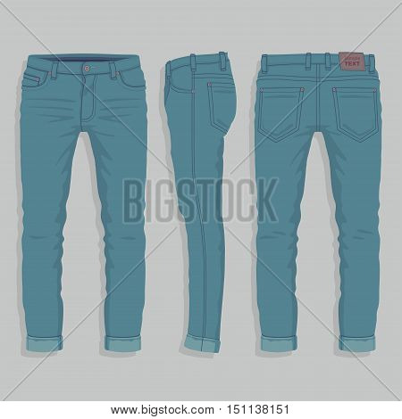 Front, back and side views of men's jeans