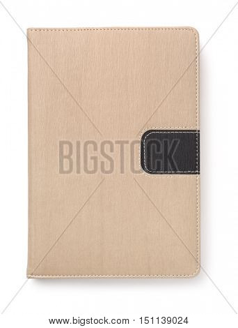 Top view of blank hardcover book isolated on white