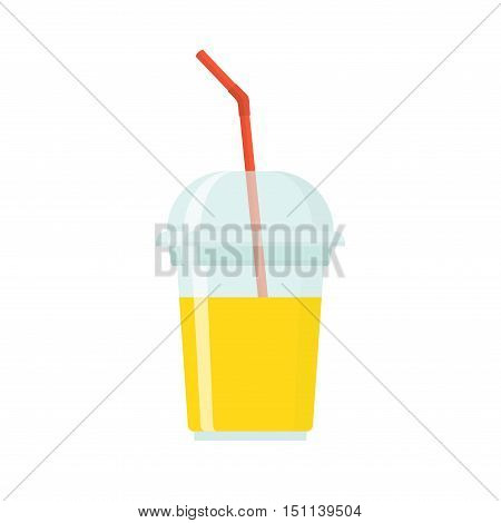 Fruit smoothie in plastic cup isolated on white background. Smoothie healthy juice fresh diet. Smoothie to go plastic cup with different fruits smoothie cocktail drink in flat style.