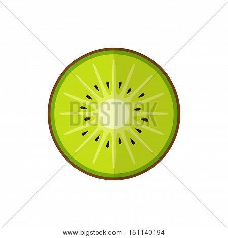 Kiwi fruit vector, slice of kiwi isolated on white background in flat style.