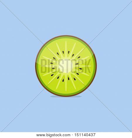 Kiwi fruit, vector slice of kiwi isolated on blue background in flat style.