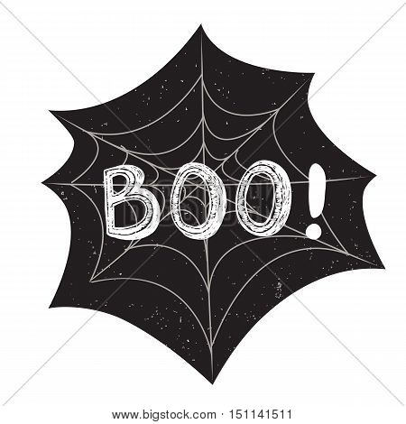 Halloween poster with text inside. Textured background. Grunge modern typographic, brush calligraphy and hand drawn lettering. Vector illustration. Use halloween cards, covers, tags, icons set and more.