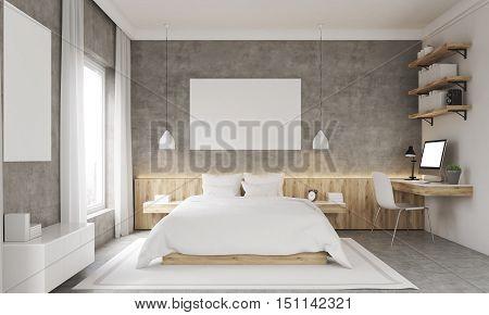Concrete Walls Bedroom Interior