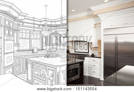 Split Screen Of Drawing and Photo of Beautiful New Kitchen.