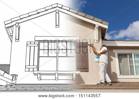 Split Screen of Drawing and Photo of Busy House Painter Painting Home.