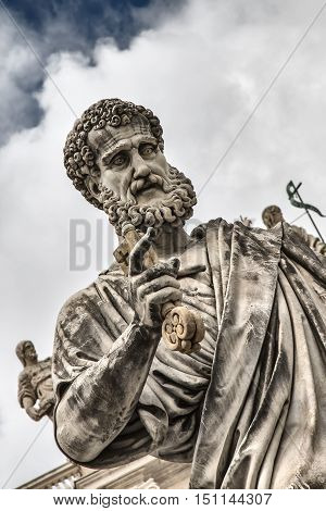 Statue of St. Peter with the key before the cathedral of San Pietro Vatican City